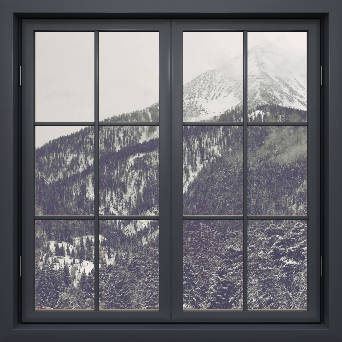 Black window closed - Clouds Vinyl Wall Mural - View through the window