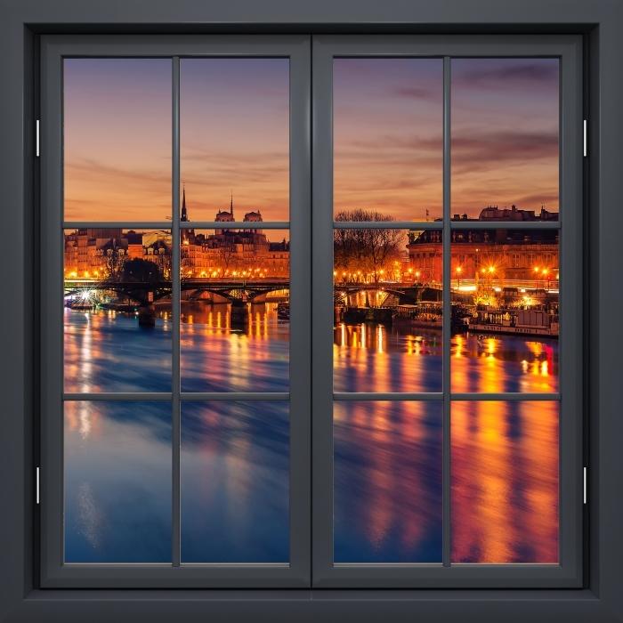 Fototapeta winylowa Okno czarne zamknięte - Paryż - Widok przez okno