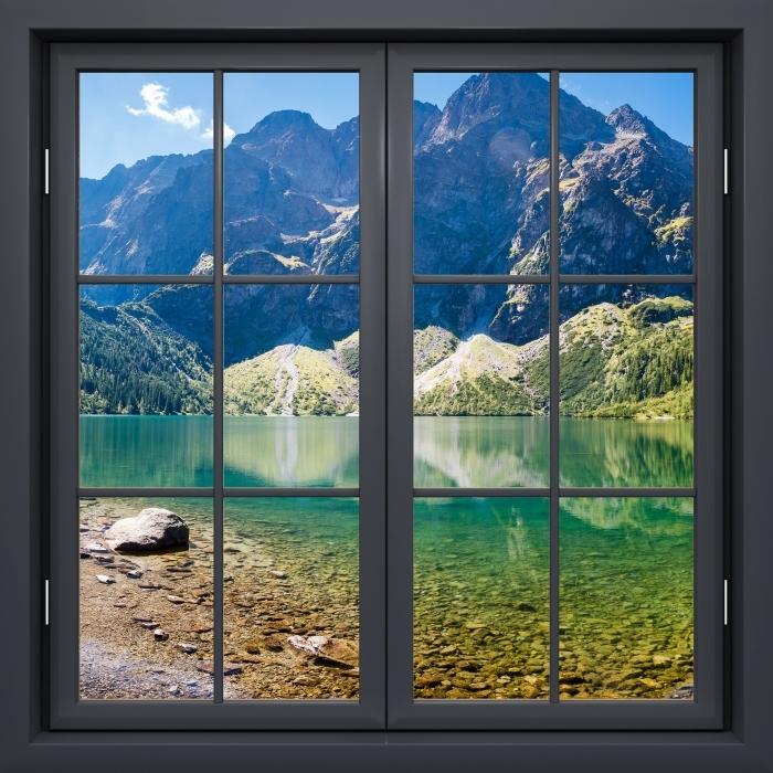 Vinyl-Fototapete Schwarz Fenster geschlossen - Panorama Meer Oka - Blick durch das Fenster