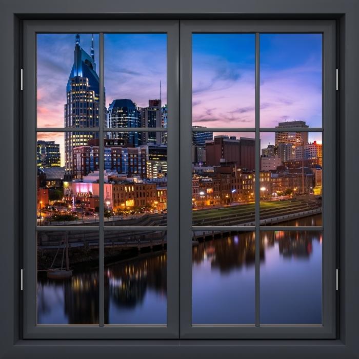 Fototapeta winylowa Okno czarne zamknięte - Nashville Skyline - Widok przez okno