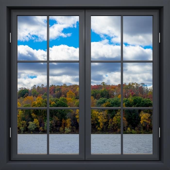 Fototapeta winylowa Okno czarne zamknięte - Jesień - Widok przez okno