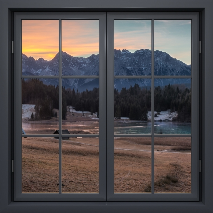 Vinyl-Fototapete Schwarz Fenster geschlossen - Bayern - Blick durch das Fenster