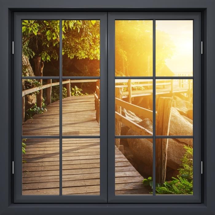 Black window closed - Thailand Vinyl Wall Mural - View through the window