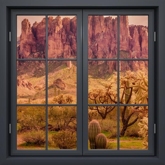 Fotomural Estándar Ventana De Negro Cerrado - Arizona - Vistas a través de la ventana