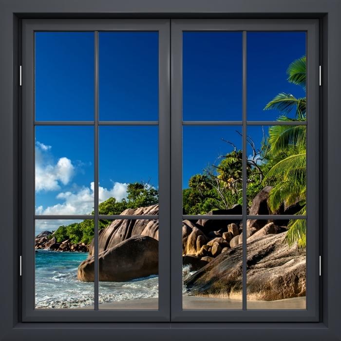 Papier peint vinyle Fenêtre Noire Fermée - Tropical - La vue à travers la fenêtre