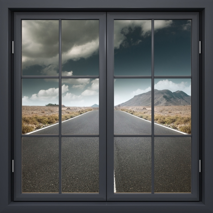 Black closed window - Road through the desert. Vinyl Wall Mural - View through the window