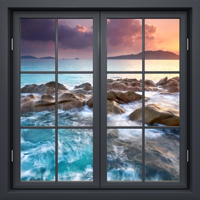 Vinyl-Fototapete Schwarz Fenster geschlossen - Sunset - Blick durch das Fenster