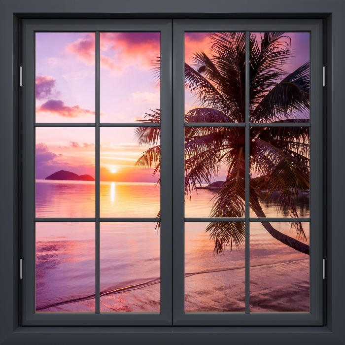 Black window closed - Tropical beach Vinyl Wall Mural - View through the window