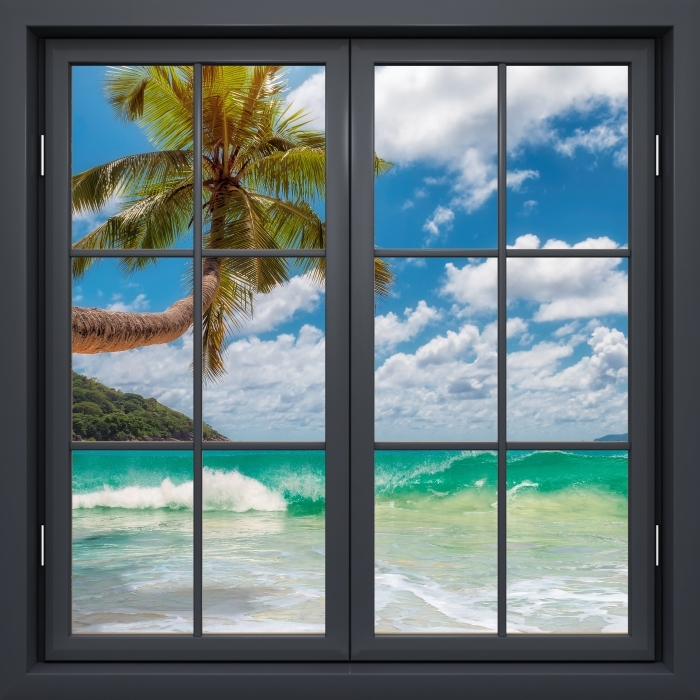 Fototapeta winylowa Okno czarne zamknięte - Raj na plaży - Widok przez okno