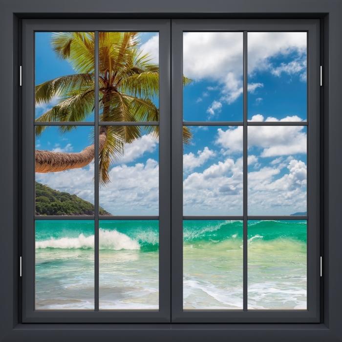 Papier peint vinyle Fenêtre Noire Fermée - Paradis Sur La Plage - La vue à travers la fenêtre
