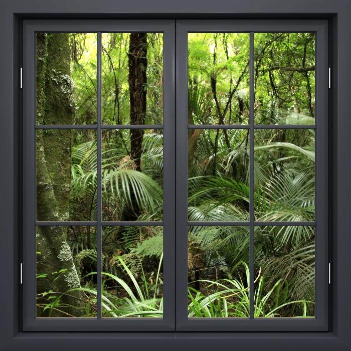 Papier peint vinyle Fenêtre Noire Fermée - Forêt Tropicale - La vue à travers la fenêtre