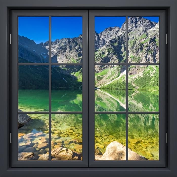 Fototapeta winylowa Okno czarne zamknięte - Jezioro w górach - Widok przez okno