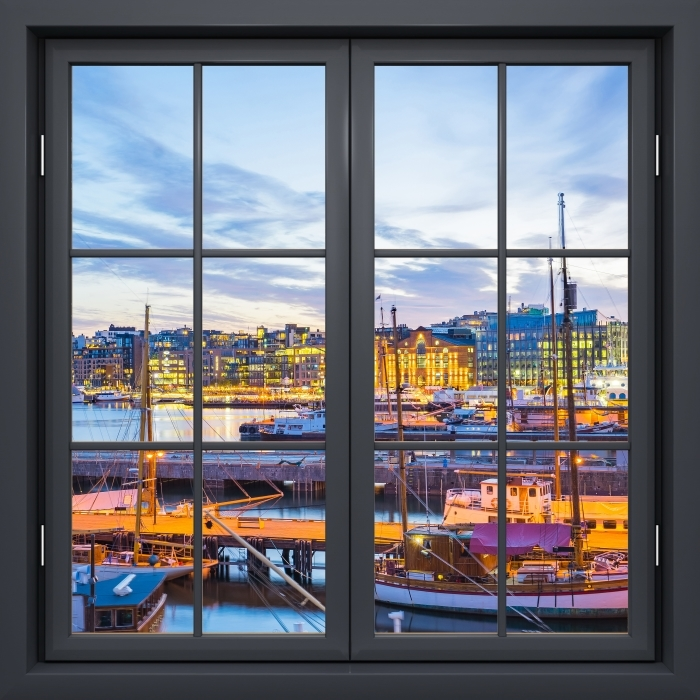 Black window closed - Oslo Vinyl Wall Mural - View through the window