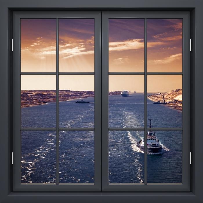 Papier peint vinyle Fenêtre Noire Fermée - Le Long De La Rivière - La vue à travers la fenêtre