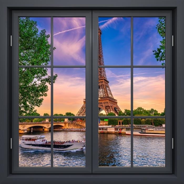 Fotomural Estándar Ventana De Negro Cerrado - París Y La Torre Eiffel - Vistas a través de la ventana
