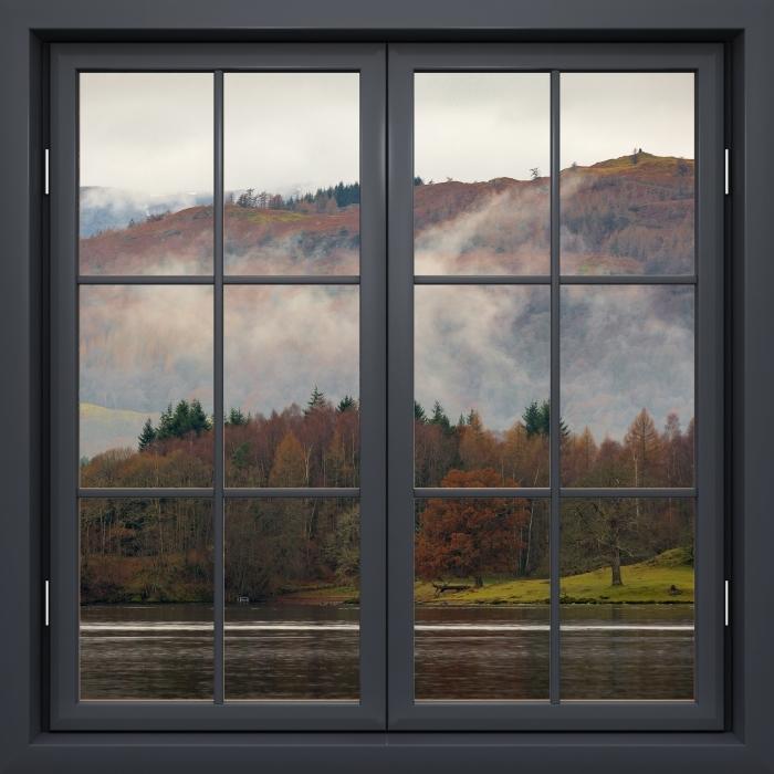 Fototapeta winylowa Okno czarne zamknięte - Lake District - Widok przez okno