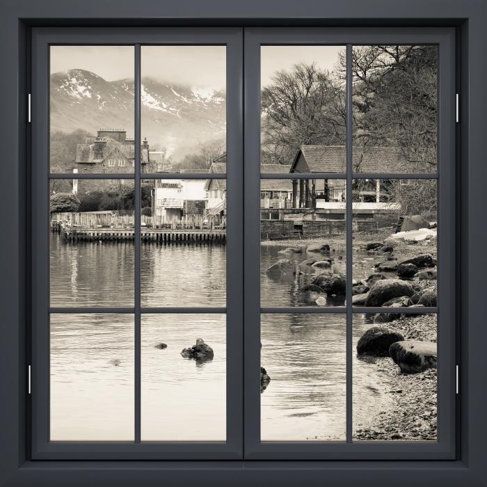Vinyl Fotobehang Black raam gesloten - Lake District - Uitzicht door het raam