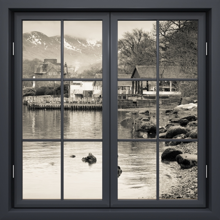 Black window closed - Lake District Vinyl Wall Mural - View through the window