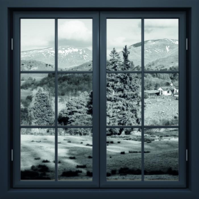 Vinyl-Fototapete Schwarz Fenster geschlossen - Lake District - Blick durch das Fenster