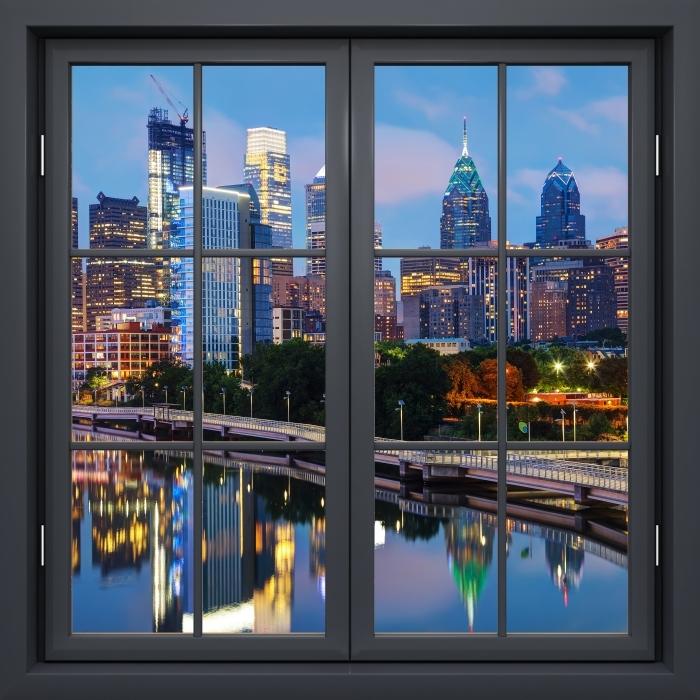 Fotomural Estándar Ventana De Negro Cerrado - Philadelphia En La Noche - Vistas a través de la ventana