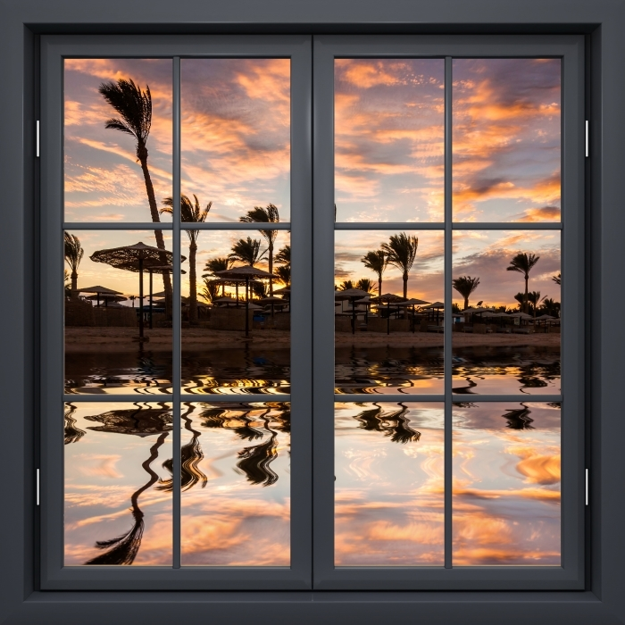 Black window closed - Sunset on the sandy beach and palm trees. Egypt. Vinyl Wall Mural - View through the window