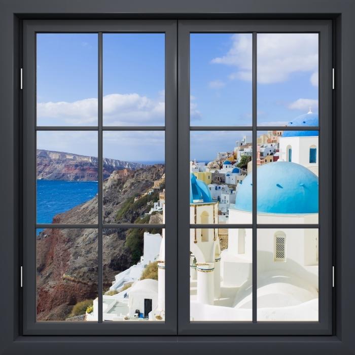 Vinyl-Fototapete Schwarz geschlossen Fenster - Landschaft von Santorin - Blick durch das Fenster