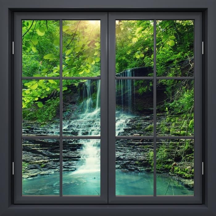 Papier peint vinyle Fenêtre Noire Fermée - Cascade - La vue à travers la fenêtre