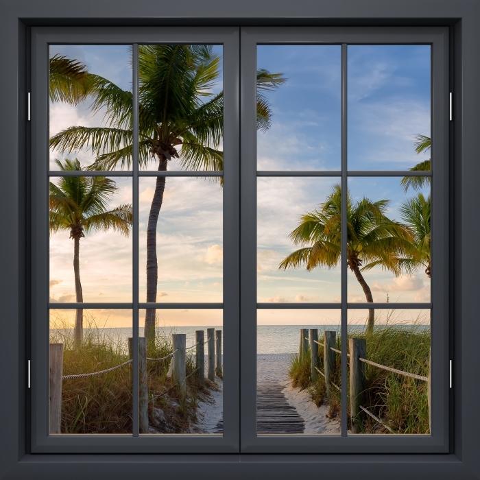 Papier peint vinyle Fenêtre Noire Fermée - Panorama - La vue à travers la fenêtre