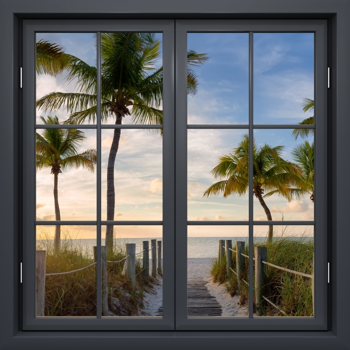 Black window closed - Panorama Vinyl Wall Mural - View through the window