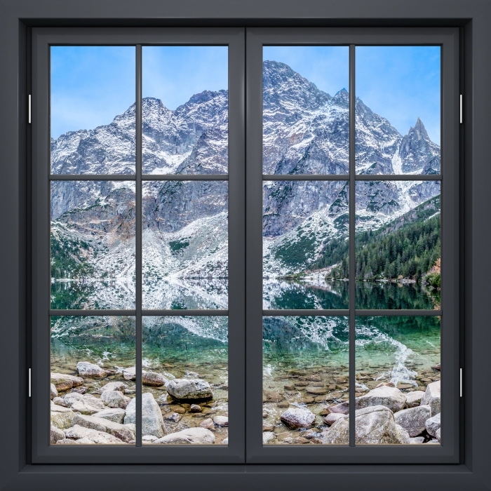 Fototapeta winylowa Okno czarne zamknięte - Morskie Oko - Widok przez okno