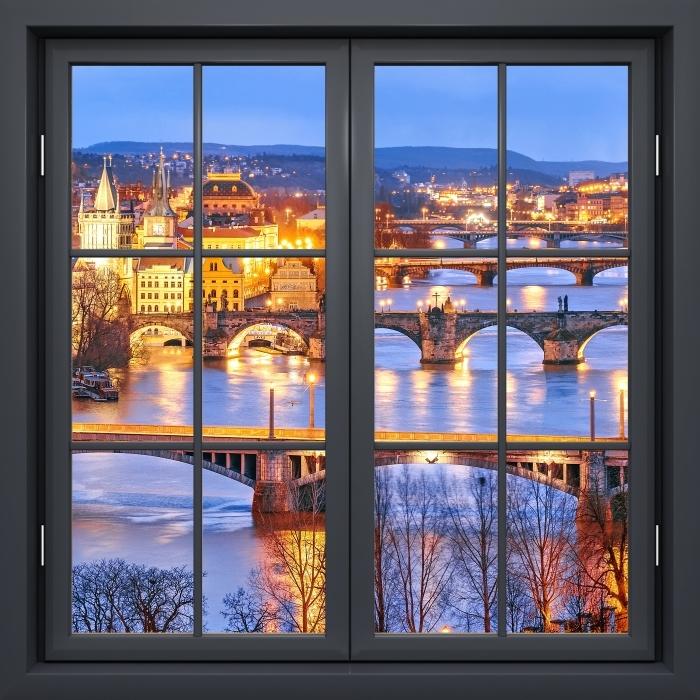 Papier peint vinyle Fenêtre Noire Fermée - Prague - La vue à travers la fenêtre