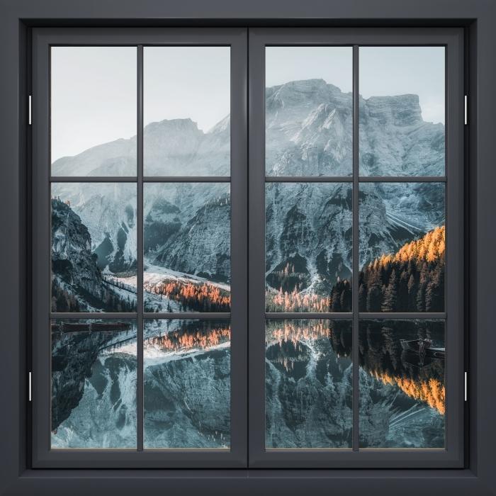 Papier peint vinyle Fenêtre Noire Fermée - Bateaux. Montagnes Dolomites - La vue à travers la fenêtre