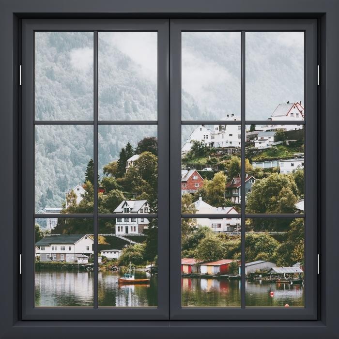 Fototapeta winylowa Okno czarne zamknięte - Mgliste góry. - Widok przez okno