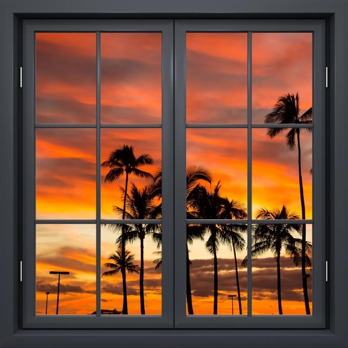 Fototapeta winylowa Okno czarne zamknięte - Hawaje - Widok przez okno