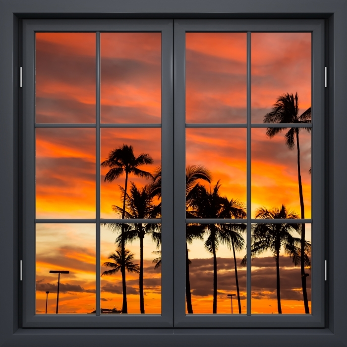Papier peint vinyle Fenêtre Noire Fermée - Hawaii - La vue à travers la fenêtre