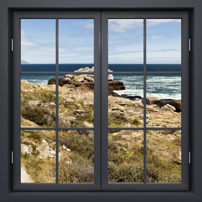 Fototapeta winylowa Okno czarne zamknięte - Nad morzem. - Widok przez okno