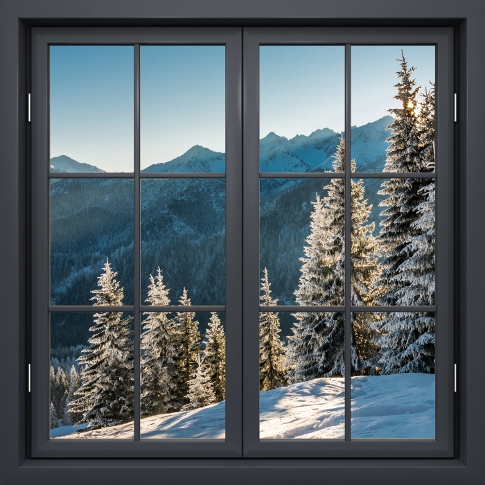 Fototapeta winylowa Okno czarne zamknięte - Tatry - Widok przez okno