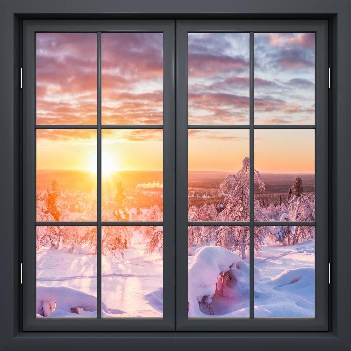 Vinil Duvar Resmi Siyah pencere kapalı - İskandinavya gün batımı - Pencere manzarası