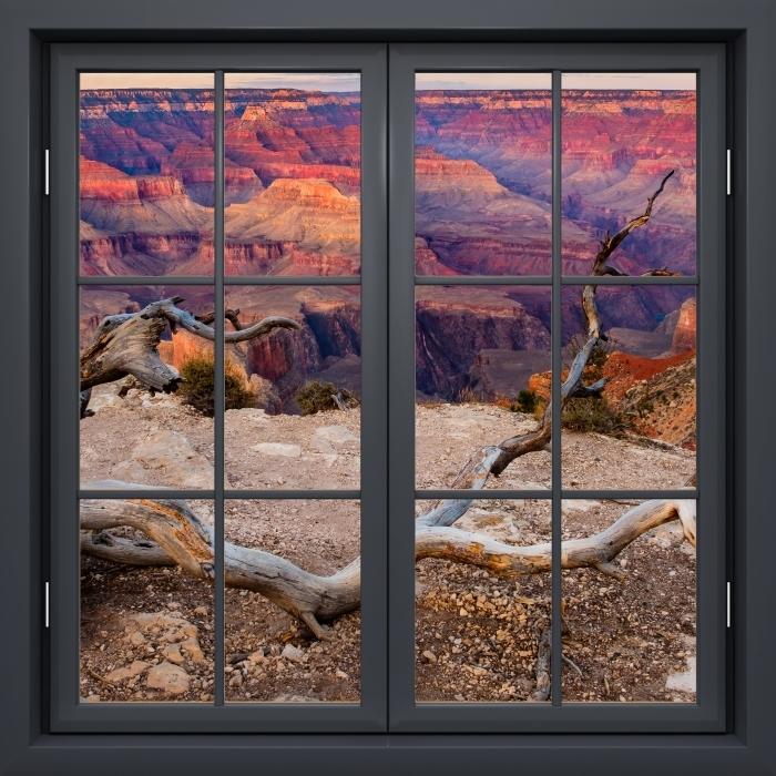 Papier peint vinyle Fenêtre Noire Fermée - Grand Canyon - La vue à travers la fenêtre