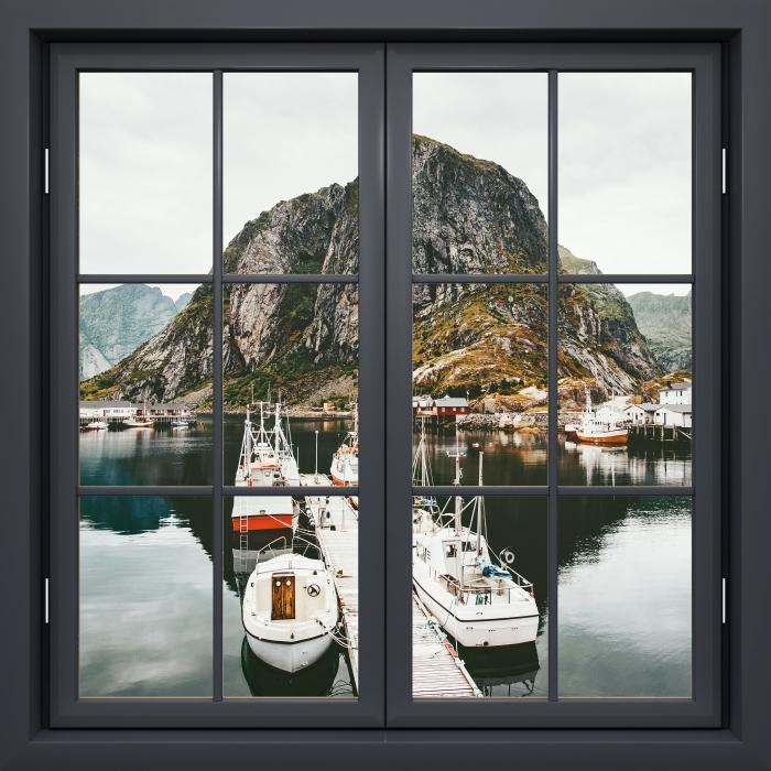 Papier peint vinyle Fenêtre Noire Fermée - Paysage. Norvège - La vue à travers la fenêtre