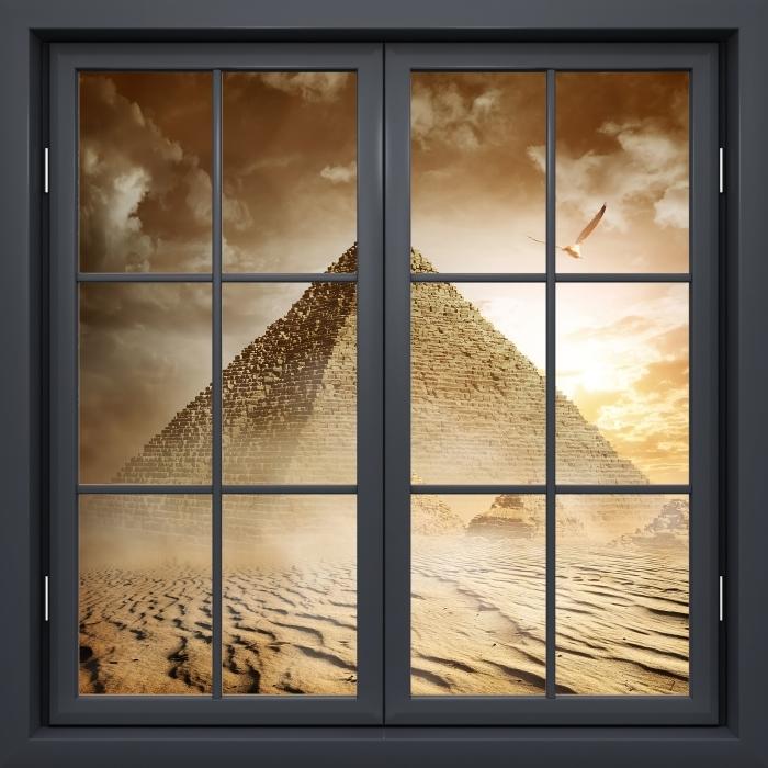 Papier peint vinyle Fenêtre Noire Fermée - Désert - La vue à travers la fenêtre