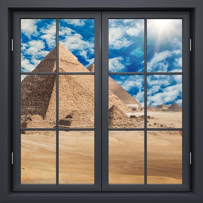 Vinyl Fotobehang Black raam gesloten - Egypte - Uitzicht door het raam