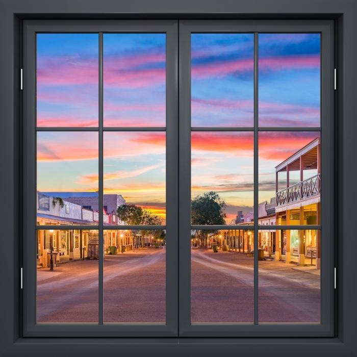 Papier peint vinyle Fenêtre Noire Fermée - Arizona - La vue à travers la fenêtre