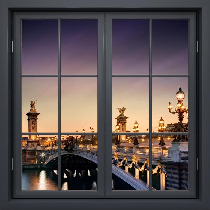 Fototapeta winylowa Okno czarne zamknięte - Most w Paryżu - Widok przez okno