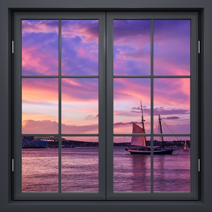 Papier peint vinyle Fenêtre Noire Fermée - Le Coucher Du Soleil Incroyable Au Port De Boston - La vue à travers la fenêtre
