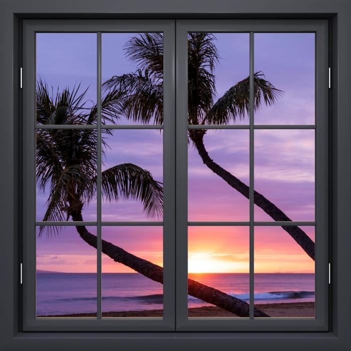 Papier peint vinyle Fenêtre Noire Fermée - Palm - La vue à travers la fenêtre