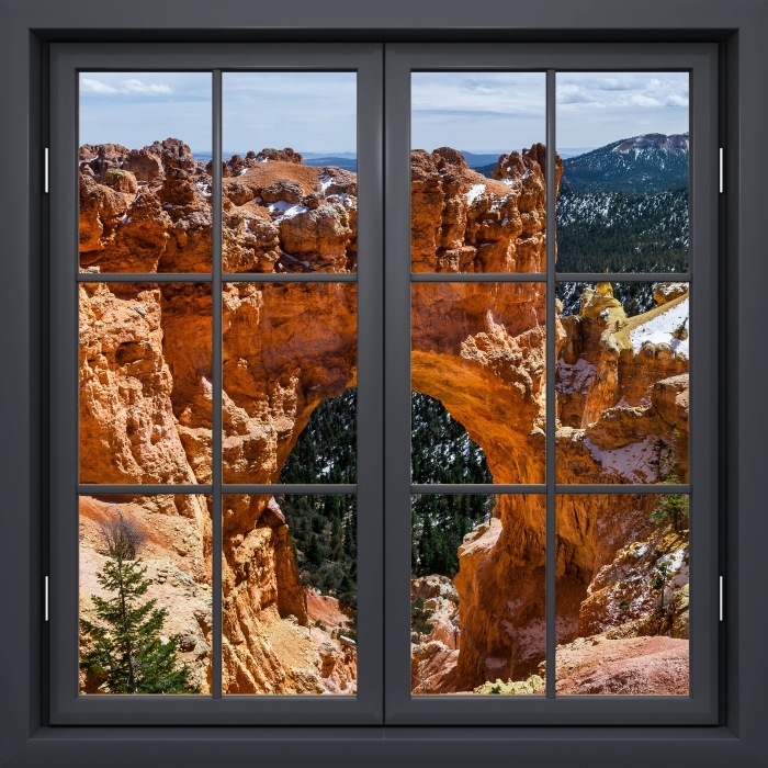 Black window closed - Canyon Vinyl Wall Mural - View through the window