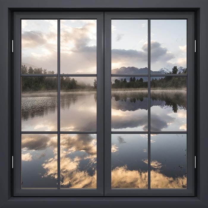 Sticker Pixerstick Fenêtre Noire Fermée - Lac. Nouvelle-Zélande. - La vue à travers la fenêtre