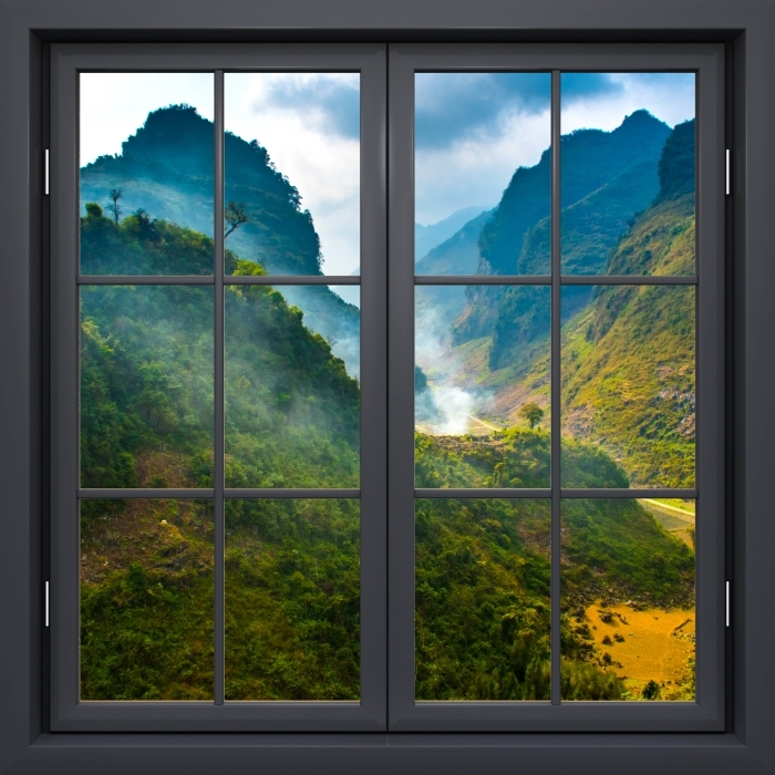 Papier peint vinyle Fenêtre Noire Fermée - Ha Giang. Vietnam. - La vue à travers la fenêtre