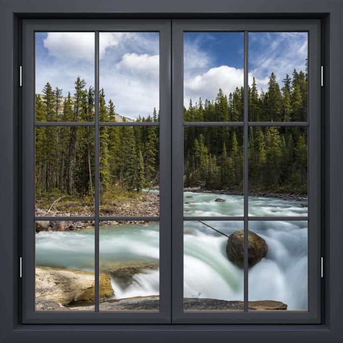Vinyl-Fototapete Schwarz Fenster geschlossen - Kanada - Blick durch das Fenster